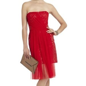 BCBG Strapless Chiffon and Sequin Red Dress Size 4